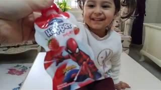 Örümcek adamlı ( spiderman ) danone hüpper yoğurt yedik süper olduk | for kids video
