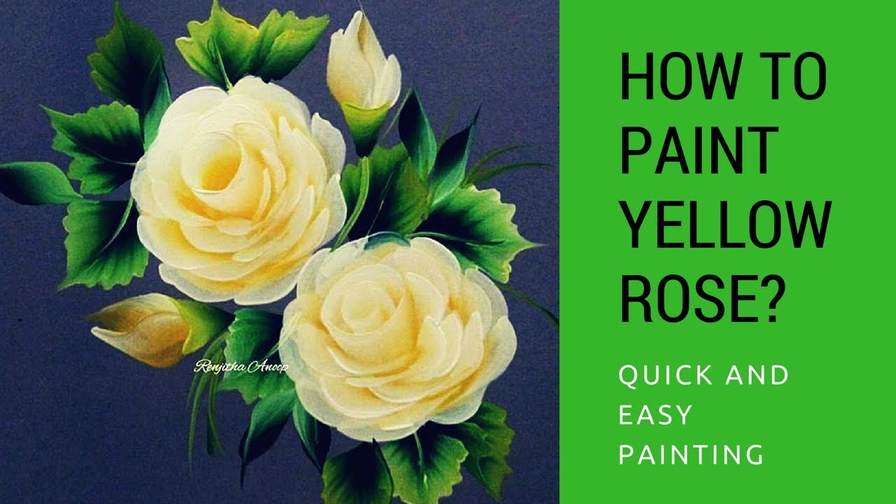 One stroke painting yellow rose quick and easy acrylic for How to paint a rose in watercolor step by step