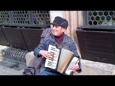 Strasbourg France Street Performer on Accordion -  La Foule (cover)  & Those Were the Days (cover)