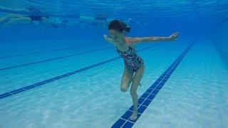 Carla Underwater Walking and playing underwater