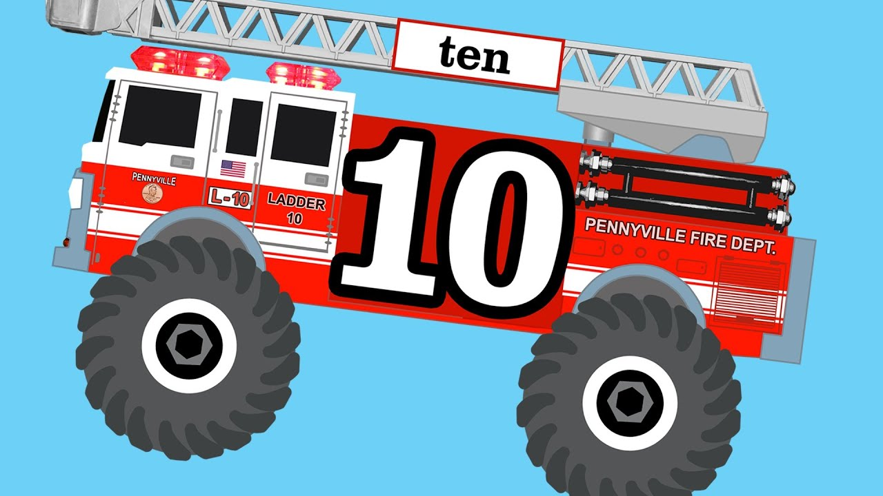 Monster Fire Trucks Teaching Numbers 1 To 10