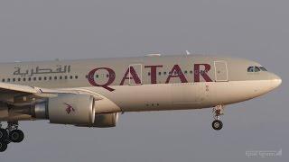 カタール航空 エアバスA330-200 関西国際空港 ランウェイ24レフト 着陸 ...
