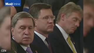 المتحدث باسم بوتين ينام خلال مؤتمر صحفي رسمي مع أردوغان