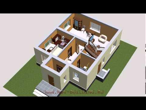 3D видео проект - дом с мансардой площадью 123 м2