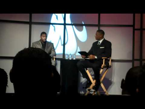 Jeshua Anderson with Lewis Johnson The Bowerman Award Show