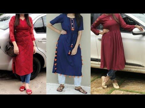 kurti-with-jean-  -college-wear-kurti-designs-  -latest-kurti-with-jeans-2019