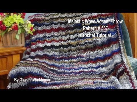 Majestic Wave Accent Throw made using Isaac Mizrahi yarn Crochet Tutorial