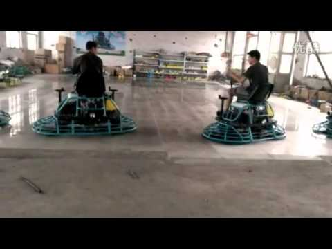 Ride On Power Trowel Operation Test In Workshop Concrete