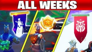 ALL Fortnite season 8 Secret Battle Star Locations week 1 to 10 and secret banner (All WEEKS)