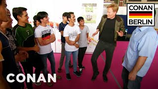 Conan Meets Refugees At Tempelhof  - CONAN on TBS