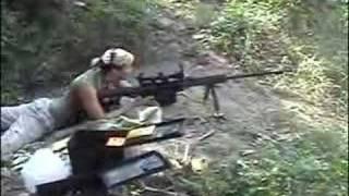 Hot chick shooting the Barrett .50 Cal