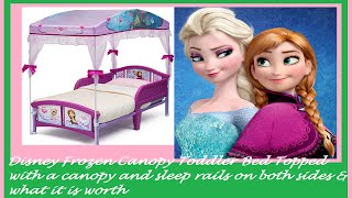 Disney Frozen Canopy Toddler Bed Topped with a canopy and sleep rails on both sides & it's worth