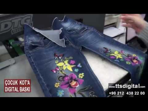 DTG - Çocuk Kotuna Digital Baskı - Printing on denim with DTG Digital