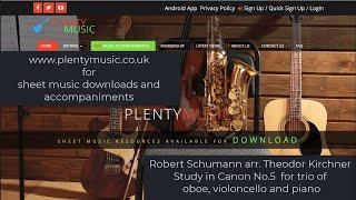 Schumann R. arr. Kirchner T.   Study in Canon No. 5  oboe, violoncello & piano