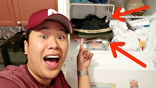 LOOK WHERE I PUT HIS BRAND NEW YEEZYS!!!