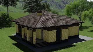 Проект одноэтажного дома Мичиган B-020 с двумя спальнями, террасой