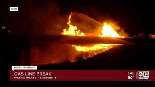 Gas line break near 7th St and University