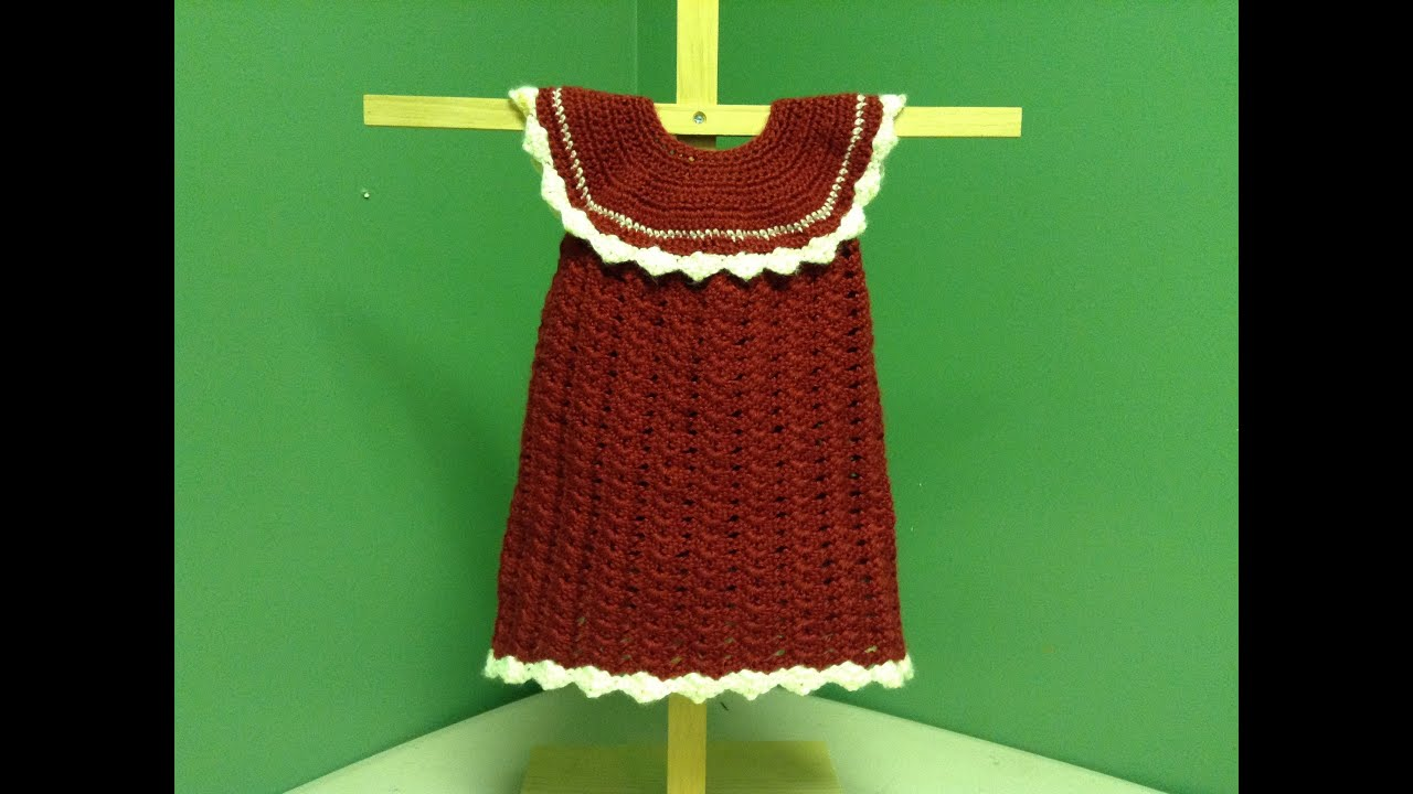 How to Crochet a Baby Christmas Dress or Doll Dress - YouTube