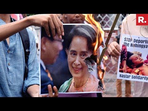 Protests In Kolkata Outside Myanmar Embassy Over Rohingya Muslims