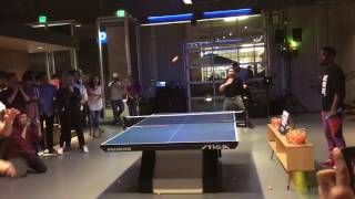 Lily Zhang plays table tennis in bar