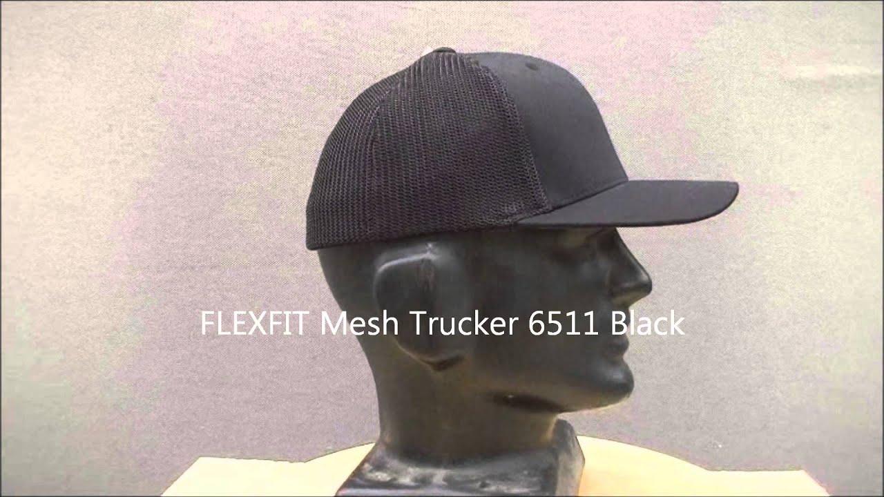 FLEXFIT Mesh Back Trucker Black 1 - YouTube 54d3a7416e90