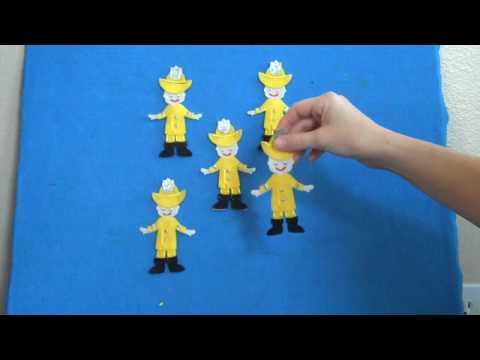 Preschool Songs ~ Five Little Firefighters Flannel Board Story