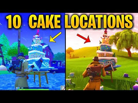 FORTNITE ALL 10 BIRTHDAY CAKE LOCATIONS - Dance In Front Of Different Birthday Cakes Spots