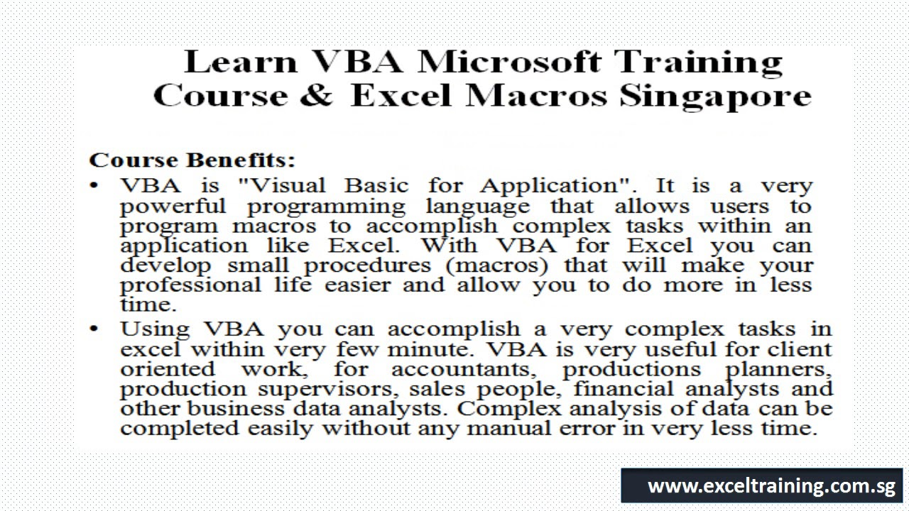 Skillsfuture Approved Vba Microsoft Excel Course Excel Training