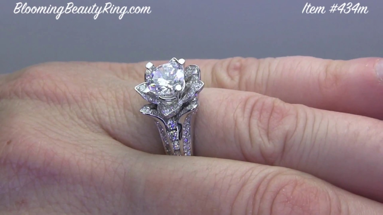 blooming women unique ring rose engagement jewelry flower for by rings lotus beauty diamond