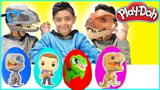 Jurassic World Fallen Kingdom Play Doh Surprise Eggs Toys T-Rex Family Fun Kids Disney Cars Dinosaur