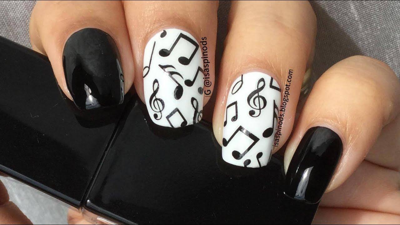 Nail Art Con Stickers De Notas Musicales Harunouta