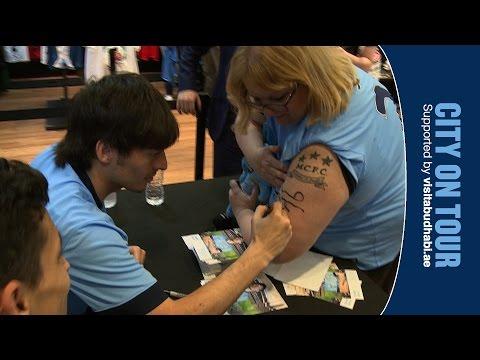 DAVID SILVA TATTOO | Silva & Jesus Navas meet Man City fans in New York City