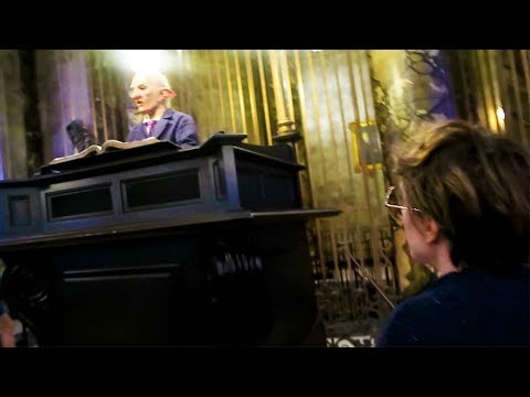 Trying to curse a Gringotts Goblin at the Wizarding World of Harry Potter