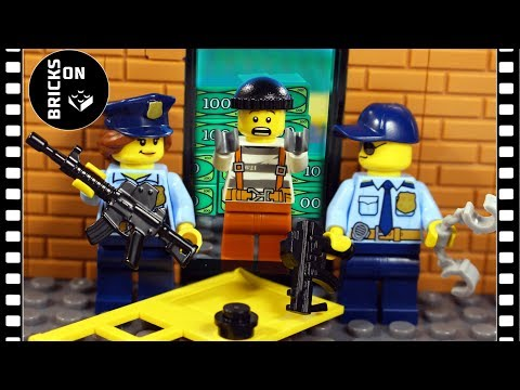 Lego Crazy Bank Robbery COMPILATION Full Story Heist Police Catch The Crooks Brickfilm Stop Motion