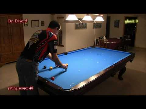 Dr Dave running through 10-ball-ghost drill (score=81, 7 to 2 race, Jan-2017)