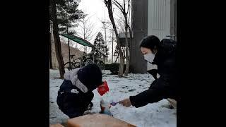#힐링   눈 오던날   중장비   엄마와 아들   도…