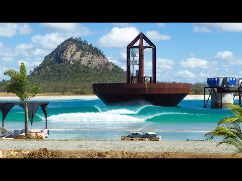 Longboarding at the Surf Lakes Wave Pool in Yeppoon