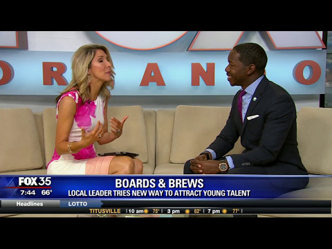 "Lyndon Carter talks to Amy Kaufeldt at Good Day Orlando/Fox 35 about his ""Boards & Brews"" program"