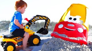 Construction Toy Trucks for Kids - Playing with Toys on the sand