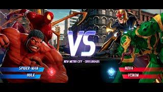 Iron Spider and Red Hulk vs Nova and Green Anti-Venom