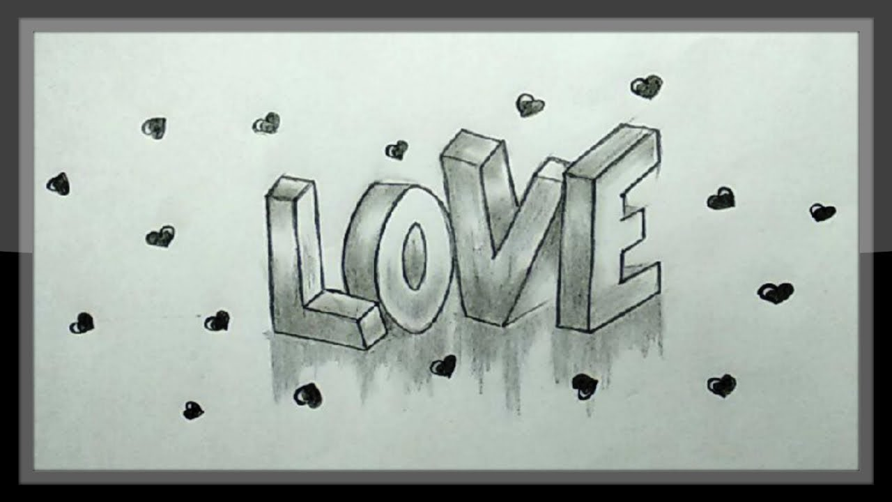 Love drawing cute valentine drawing in pencils easy