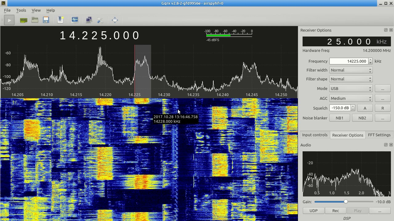 CQ WW SSB 2017 with Airspy HF+ and Gqrx