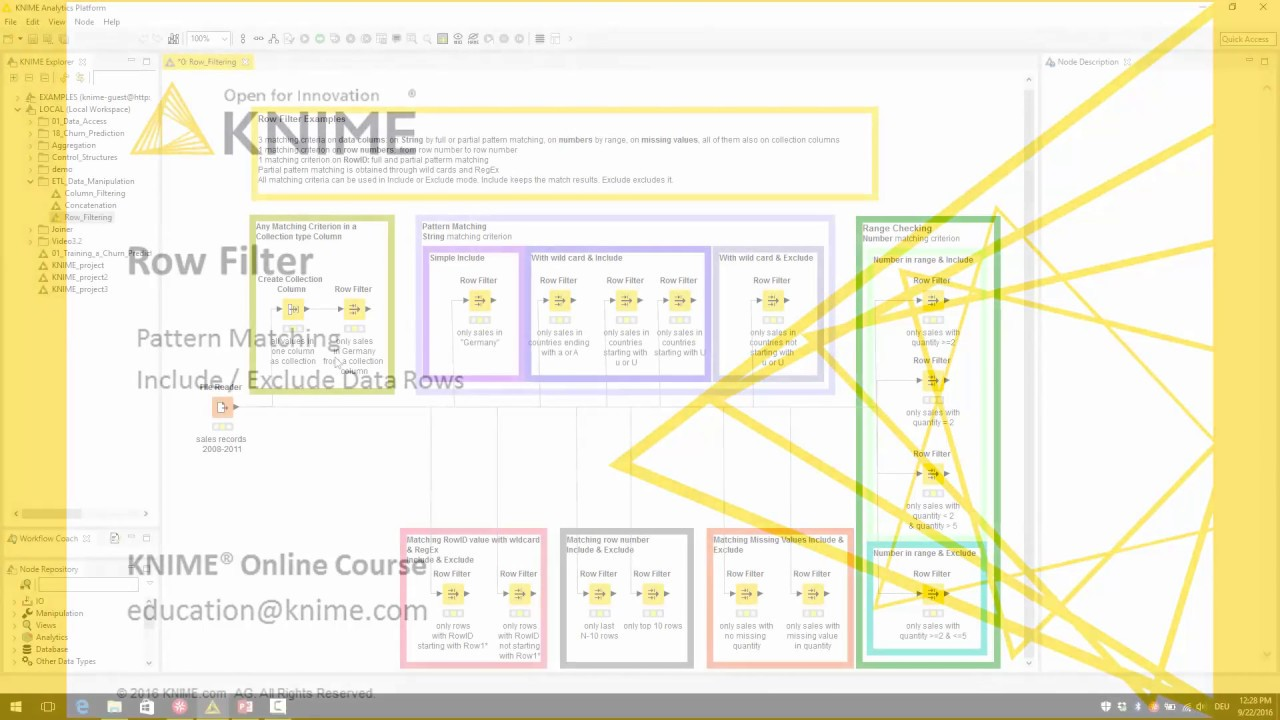 ETL with KNIME. Row Filter with Pattern Matching