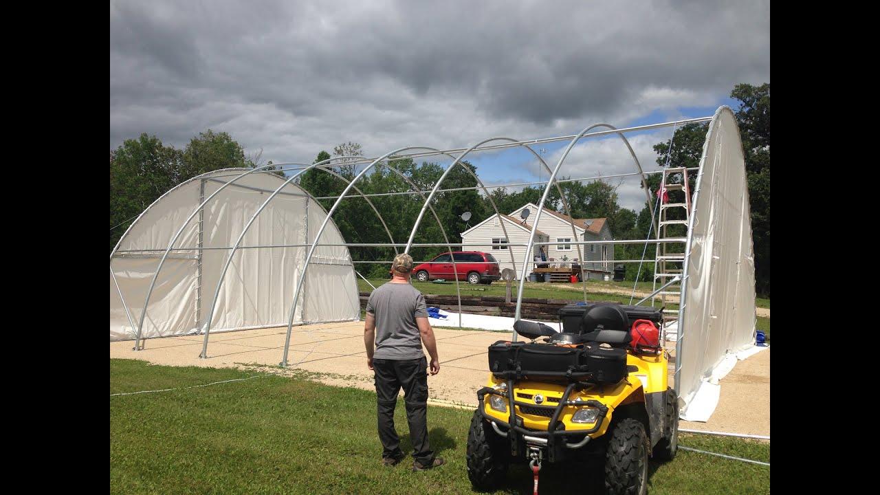 Setting up a massive portable garage. - YouTube