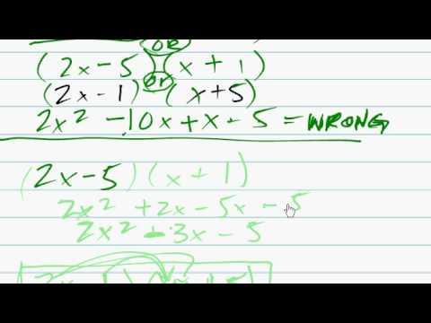 factoring trinomials 2x 2 9x 5