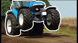 New Holland Tractor wheelie while ploughing [amazing] 2017