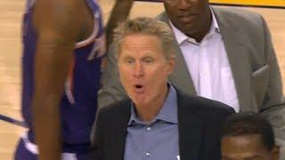 Steve Kerr Gets Ejected, Waves Bye to Referee - Suns vs Warriors   Oct 8, 2018   2018 NBA Preseason