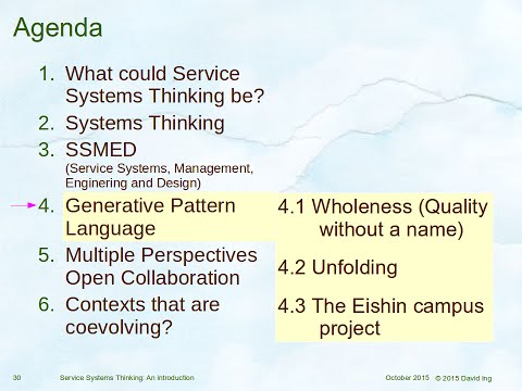 An Introduction to Service Systems Thinking (Part 2 of 2) 2015/10/02