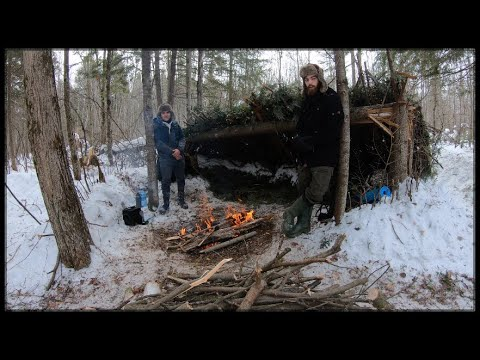 WINTER BUSHCRAFT BUILD -17c Overnight Camping in Primitive Shelter (Campfire Cooking, Pine Shelter)