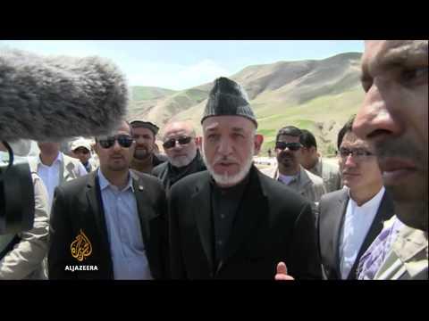 Afghanistan's president visits landslide site